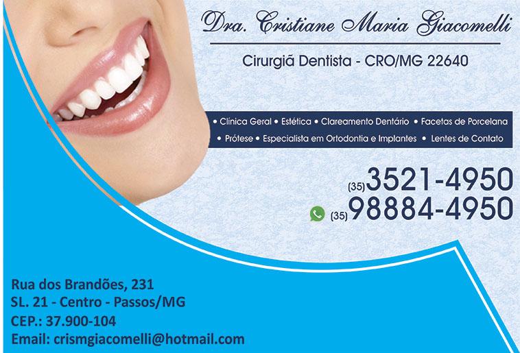 Dra. Cristiane Maria Giacomelli - CRO/MG - 22640
