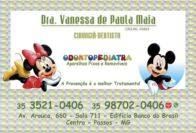 Dra. Vanessa de Paula Maia - CRO/MG - 40899