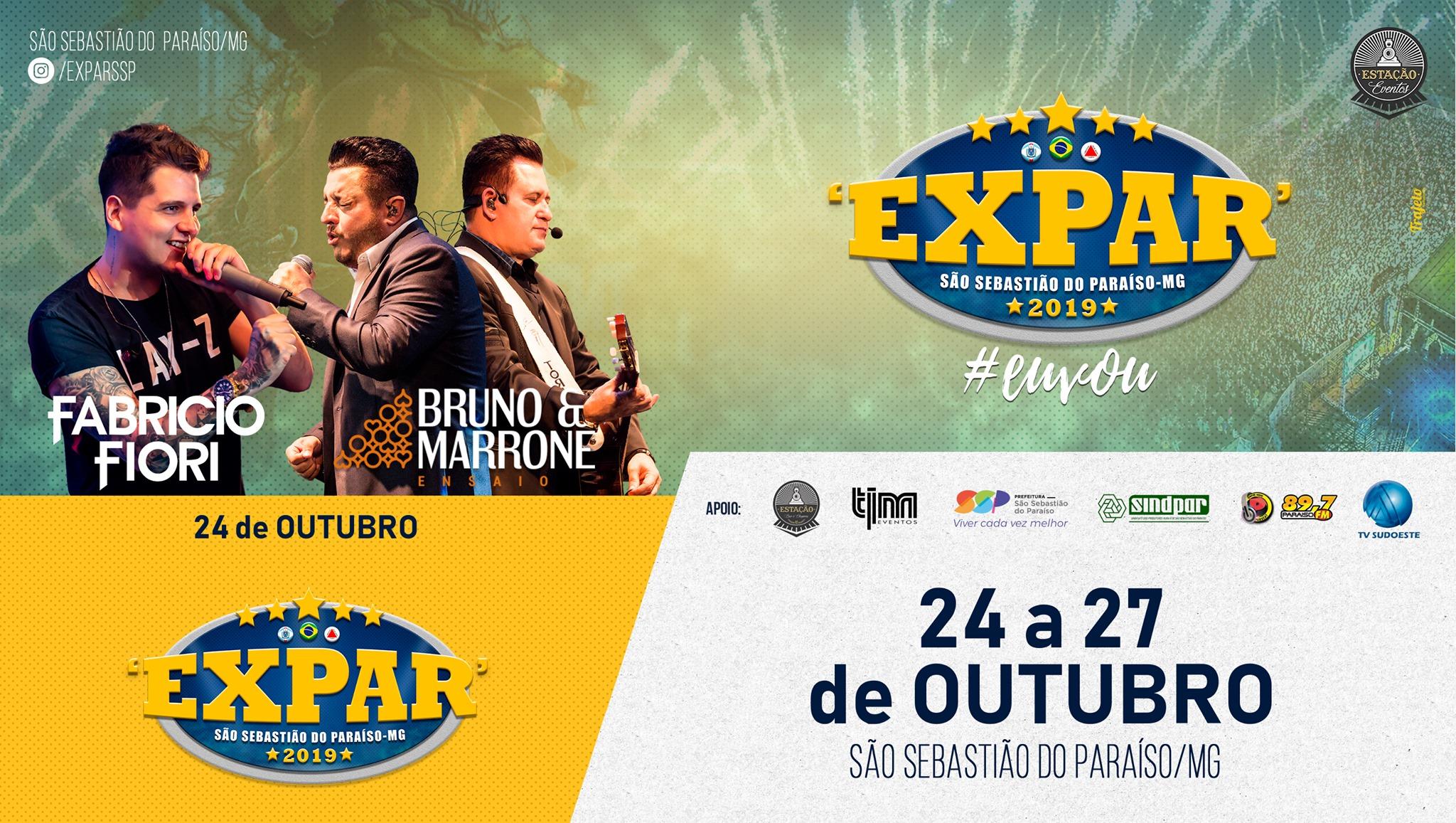 Expar 2019 - São Sebastião do Paraiso MG - 24/10 a 27/10 2019
