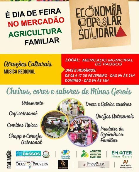 Mercado Municipal de Passos - Economia Popular Solidária (08/02 a 17/02)